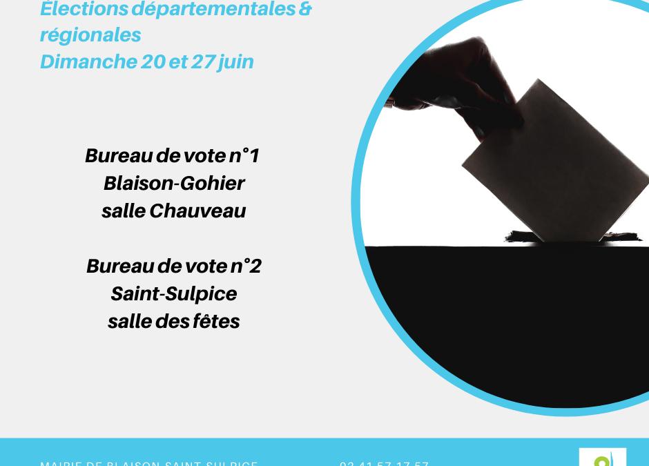 Élections départementales et régionales – 20 & 27 juin